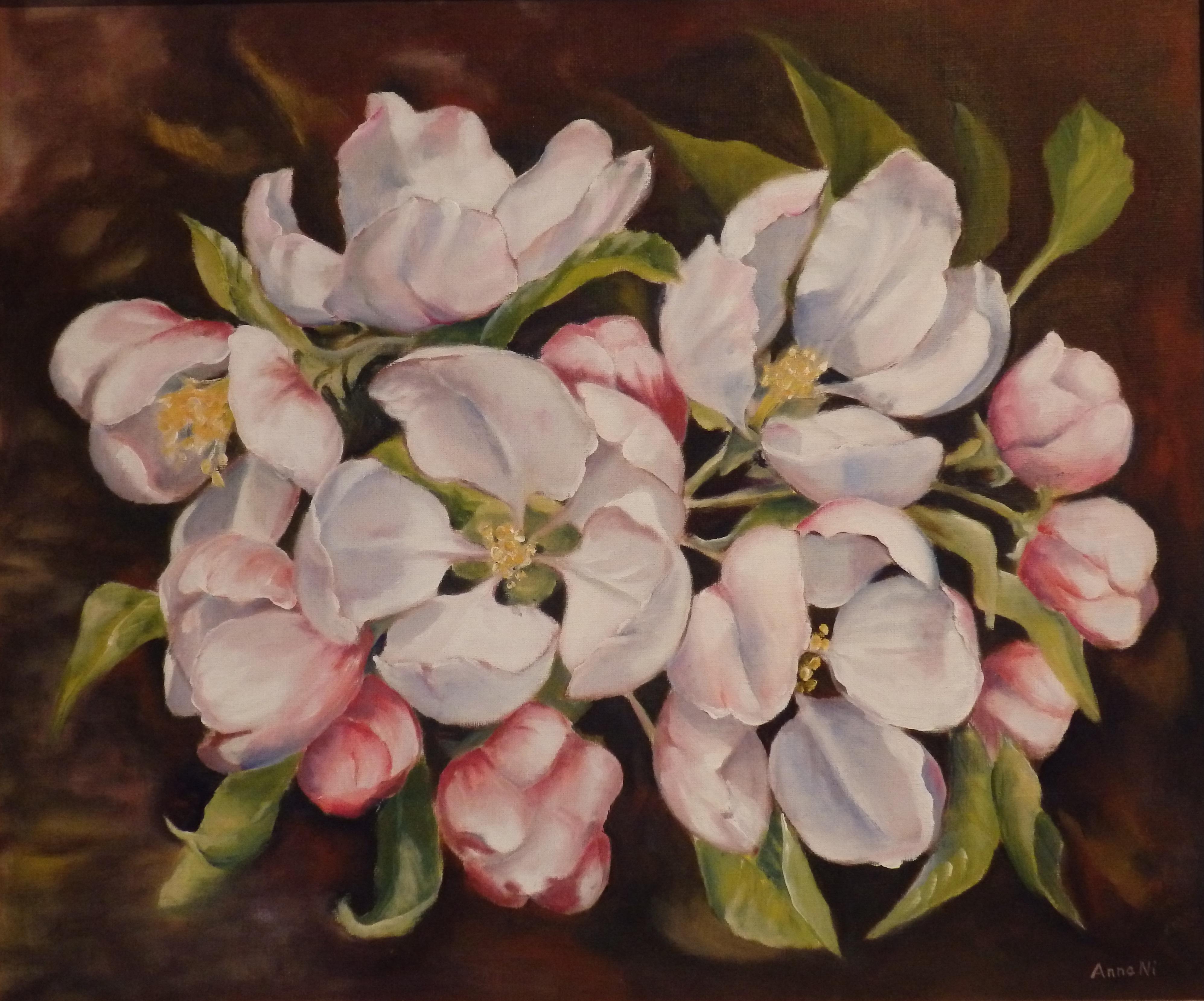 """""""Äppelträdet blommar"""" målad I olja 64x51 cm"""