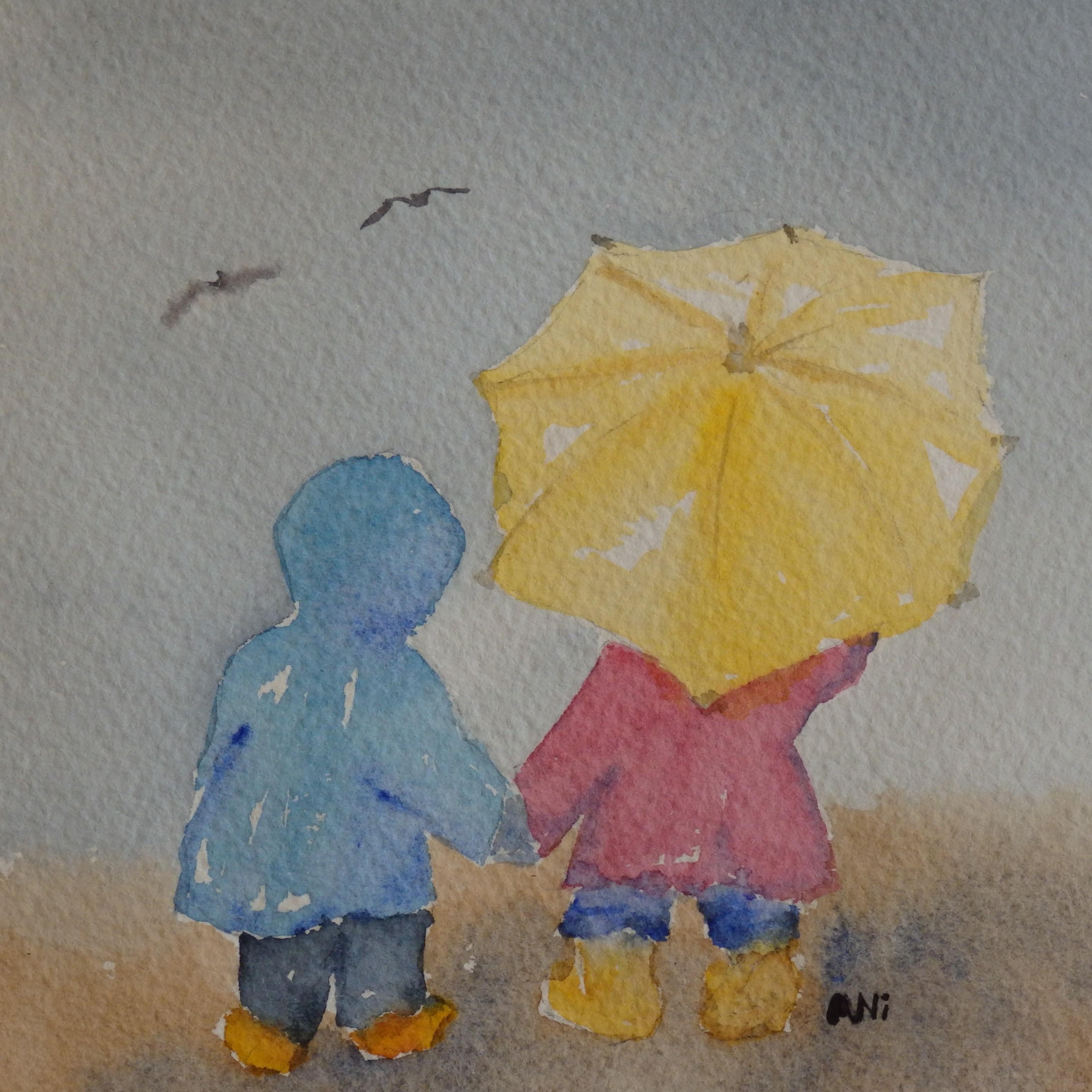 """Vänner m paraply"" 18x18cm"