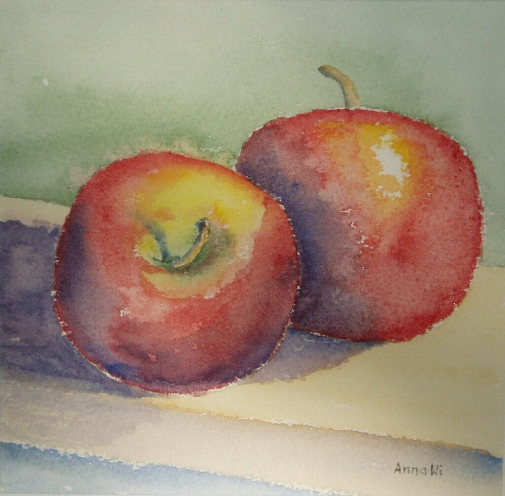 """2röda äpplen"" 40x40cm"